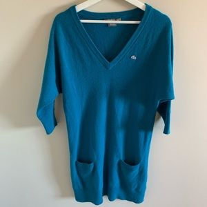 Lacoste Blue Cashmere Sweater Dress with Pockets